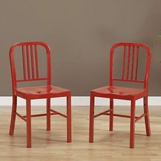 Modern 17 Inch Red Metal Steel Kitchen Or Dining Room Table Chairs 2 Piece Set