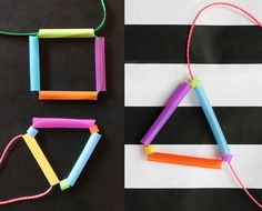 Cute and easy DIY geometric necklace by Happythought #geometric #neon #diynecklace happythought.co.uk/craft/drinking-straw-necklace