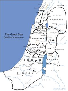 Map of Canaan - Twelve Tribe Portions (Bible History Online)