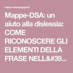 Mappe-DSA: un aiuto alla dislessia: COME RICONOSCERE GLI ELEMENTI DELLA FRASE NELL'ANALISI GRAMMATICALE