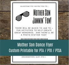 Custom Printable Mother Son Dance Flyer for PTA, PTO, Church and other groups