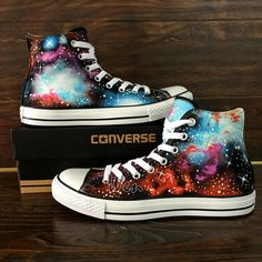 Fantastic Galaxy Nebula Original Design Converse All Star Custom Hand Painted Shoes Men Women's Sneakers Canvas Shoes High Classic Skateboarding Shoes Painted Converse, Painted Canvas Shoes, Hand Painted Shoes, Converse Star, Black Converse, Converse Shoes, Converse High, Galaxy Shoes, Textiles