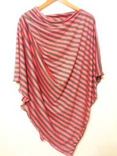 Love this one! Coral and Gray Striped Nursing Poncho full by busyspinningthread, $34.00