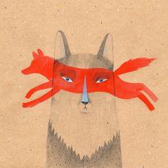 Items similar to Perro lobo impresión - sus antepasados eran lobos 30x30cm (12x12in) Ilustración impresión cuadrada on Etsy