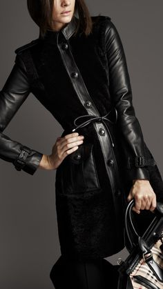 Burberry London women leather sleeve shearling coat