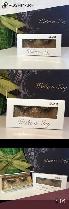 Luxurious Thick Soft Mink Stripe False Eyelash Style: Rekik -Strip is made out of 100% Mink  -Soft and lightweight can be worn up to 30 times with proper care.  Retail price $29.99  Custom made for Brand Wake n Slay Instagram @wakenslay Wake n Slay Makeup False Eyelashes