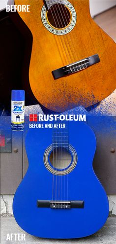 Spray paint is our specialty! Find a large assortment of colors and finishes at Rust-Oleum and use spray paint on your next DIY project. Spray Paint Colors, Diy Spray Paint, Spray Painting, Spray Paint Projects, Guitar Painting, Acoustic Guitar, Rust, Personality, Blues
