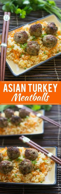 Asian Turkey Meatballs and Carrot Rice Recipe | Asian Turkey Meatballs | Carrot Rice | Best Asian Meatballs | Easy Asian Meatballs | Honey Garlic Sauce