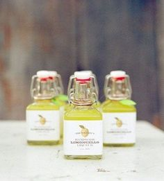 Lemoncello in mini bottles for your guests