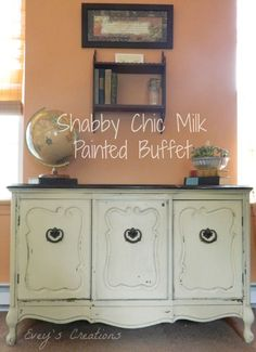 """Sweet Song Bird: """"Shabby Chic Storage"""" Milk Painted Vintage Buffet- The Fab Furniture Flippin' Contest Living Room Furniture Sale, Home Decor Furniture, Shabby Chic Furniture, Home Decor Items, Furniture Makeover, Painted Furniture, Diy Home Decor, Furniture Ideas, Refinished Furniture"""