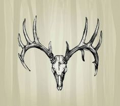 #sugar skull tattoo Indian antlers deer head