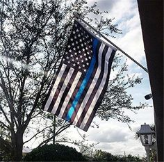 Thin Blue Line Police Flag Respect and Honor Banner Foot Flag Brass grommet 3x5
