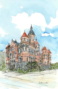 Dallas Old Red Museum art print of watercolor by AndreVoyy on Etsy