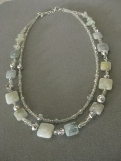 Aquamarine Necklace NB 1074 Double Stranded by InformalElegance, $42.00