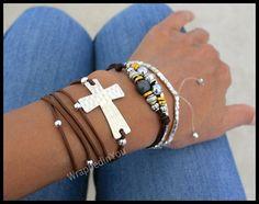 Boho Leather Wrap Bracelet Silver Hammered by WrappedinYou