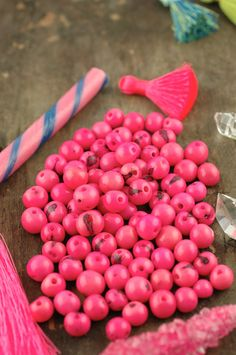 Bubble Gum Pink Acai Beads Real, Natural South American Eco- Beads, 10mm, 100 beads, Bright Round, Large Hole, Jewelry Making Supply