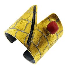 Cuff | Peter Schmid of Atelier Zobel.  24k gold over oxidized sterling silver, coral, black diamonds and Pavé champagne diamond accents