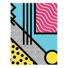 Shop Abstract memphis pop art style graphics postcard created by UDDesign. Small Canvas Paintings, Small Canvas Art, Mini Canvas Art, Pop Art Paintings, Simple Wall Paintings, Easy Canvas Painting, Small Art, Hippie Painting, Trippy Painting