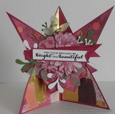 Star effect card using the beautiful DSP Printed with love and the SAB stamp Heartfelt Blooms