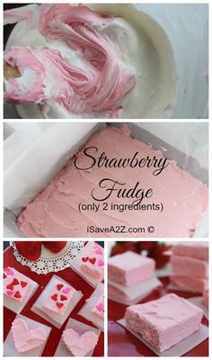 Easy Strawberry Fudge Recipe think Valentine's Day ideas! made on the fudge is thick but need smaller dish for setting is too thin Fudge Recipes, Candy Recipes, Dessert Recipes, Just Desserts, Delicious Desserts, Yummy Food, Pink Desserts, Dessert Healthy, Strawberry Fudge Recipe