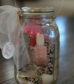 Mason jar manicure Kit.  Great for Bridesmaid our sister gifts