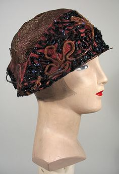Brown Straw Cloche Hat with Couched Trims  -  1920s