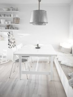 Englemor: My kitchen | Love the kitchen and dining room.  Simple, clean lines, whitewashed flooring, bright space, white and black.