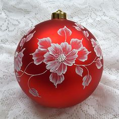 Red Floral MUD Ornament 123 by MargotTheMUDLady on Etsy, $45.00