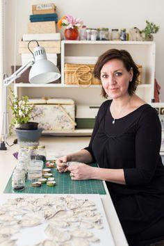 Deborah O'Toole in her textile art studio. Image by Natalie Mendham Photography