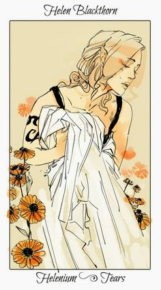 Helen Blackthorn ~ The Dark Artifices flower cards by Cassandra Jean