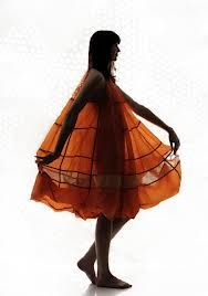 Dress made with recycled parachute silk by Christopher Raeburn
