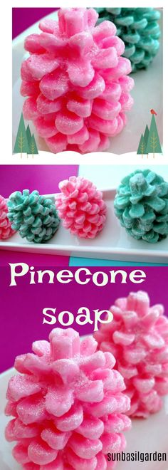 Pinecone soaps for the Holidays. Scented in festive candy cane and Mistletoe. Each soap is decked out in a sprinkle of sparkling snow glitter. A favorite small gift to give for hostess, teacher and coworkers. And a magical party favor at Christmas time.