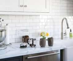 stick, contact paper, marbles, cabinet, kitchen dining, kitchen counters, subway tiles, granite countertops, white kitchens