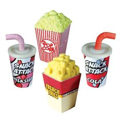 Snack Attack Scented Sharpener and Erasers. They smell like milkshakes, popcorn, french fries and soda!