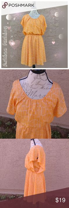 """Collective concepts mini dress Blouson mini orange dress. Very good condition. Size: M Measures:  Bust flat-17.5"""" Waist- 13"""" (stretchy to 18"""") Length- 35.5"""" Materials: Shell- 100% polyester,                    Lining- 100%polyester.  ??Offers are welcome. ??Bundle 2+ items and get 15% off. ??No trades, sorry. ??Actual color of item may vary slightly from picture. Collective Concepts Dresses Mini"""