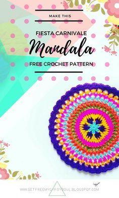 Autumn Fiesta Carnivale Crochet Mandala   Free Crochet Pattern - Make this colourful carnival floral design crochet mandala using a series of treble crochet, double crochet and puff and spike crochet stitches with this week's free crochet pattern for Mandala Monday.
