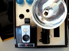Vintage Kodak Brownie Hawkeye Flash Outfit just like my Mom had in the 50's  by honeyblossomstudio, on etsy. 35.00