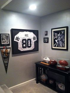 football rooms football jerseys framed jersey sport room boy rooms display ideas raider nation room decor man caves