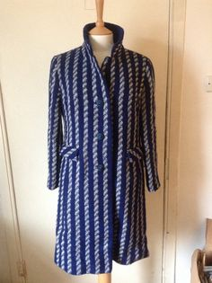 Wool Blue & White Coat with Buttons. by MonaBellsVintage Vintage Clothing, Vintage Outfits, 1960s, Blue And White, Buttons, Shirt Dress, Wool, Trending Outfits, Shirts