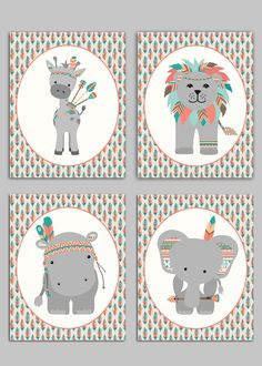 Tribal Nursery, Boho Nursery Decor, Tribal Zoo Animals, Tribal Elephant, Tribal Hippo, Tribal Giraffe, Tribal Lion Decor, Nursery Art Prints by SweetPeaNurseryArt on Etsy