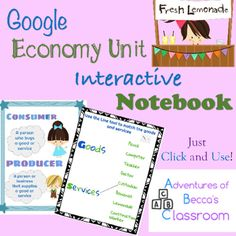 This Google Interactive Notebook includes everything that you need to teach your students about the Economy! There is no prep! Just click on the link and start learning! Each skill contains a teaching page, with anchor chart, and an interactive assessment page.Skills Include:*Needs*Wants*Supply*Demand*Consumers*Producers*Goods*Services*ScarcityInteractive pages include completing venn diagrams, t-charts, matching, short answer, and fill in the blanks!Interactive Notebook can be done with…