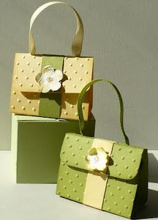 Let's create: Mini Treat Purses...good ideas at this link...use border punches for flap...really cute