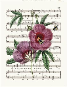 BOGO SALE Purple flower Honey bees Dictionary page por bmarinacci