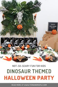 Throw a Halloween Party for kids that is more sweet than scary, with a fun dinosaur theme! No bones about it- boys and girls of all ages will have fun before they trick-or-treat with these DIY decor ideas including backdrop and table settings! Get more info now at fernandmaple.com! Halloween Party Themes, Halloween Table, Diy Halloween Decorations, Happy Halloween, Autumn Decorations, Halloween Foods, Halloween Invitations, Halloween Stuff, Halloween Treats