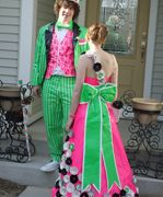 Green and pink watermelon look duct tape dress and boys suit----repinned by acb