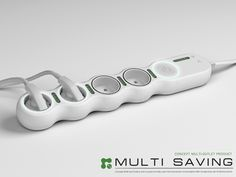 Hyungwoo Um's Multi Saving Power Strip - easy to plug in (rotating outlets) and keeps track of energy use of each plug!