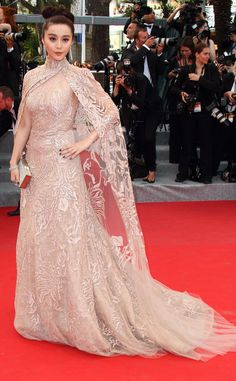 Caped to Perfection from Fan Bingbing's Best Looks  In Elie Saab at the 2012 Cannes Film Festival.