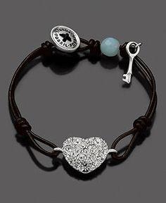 Fossil Bracelet, Black Leather Crystal Heart