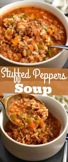 Comforting stuffed peppers soup that features all the ingredients of the classic dish and very easy to make. Use homemade broth for even more flavor.