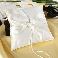 eenvoudige ontwerp ring kussen in ivoor satijn met elegante knoop – EUR € 8.24